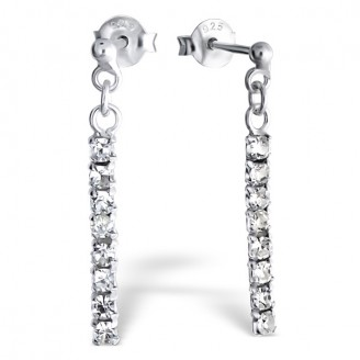 "Stříbrné náušnice s krystaly ""Lisa"". Ag 925/1000"